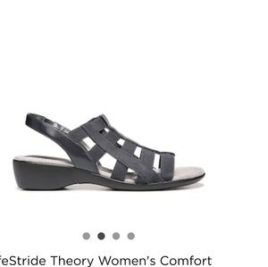 Life Stride Black Strappy Wedge Sandals Size 6.5 M